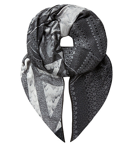 ASPINAL OF LONDON 'A' Graphite scarf (Grey