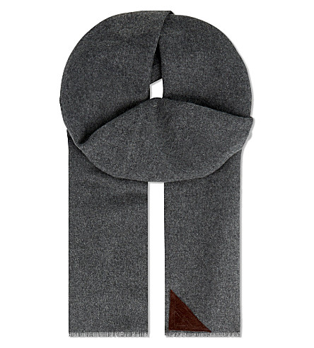 ASPINAL OF LONDON Suede patch cashmere scarf (Grey