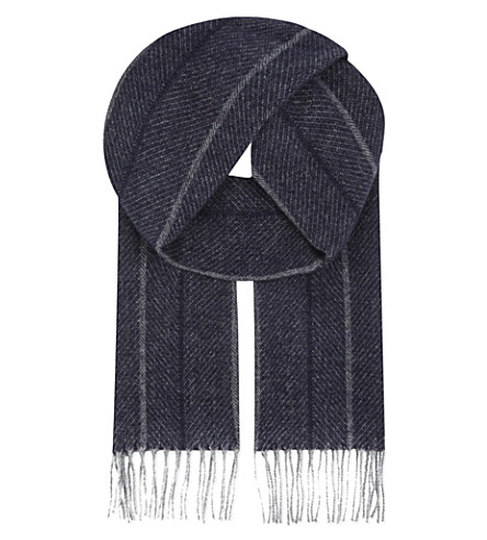ASPINAL OF LONDON Herringbone cashmere & merino wool scarf (Navy