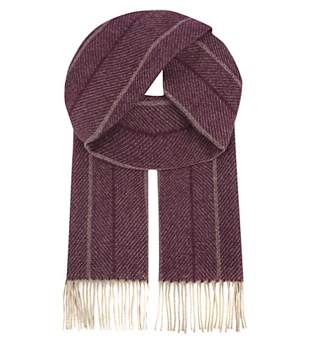 ASPINAL OF LONDON Herringbone cashmere & merino wool scarf (Burgundy