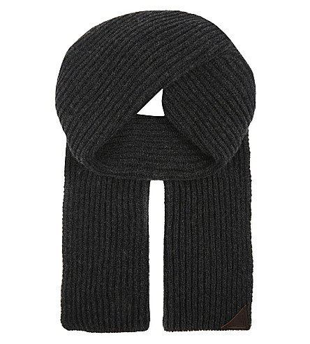 ASPINAL OF LONDON Ribbed merino wool and cashmere-blend scarf (Grey