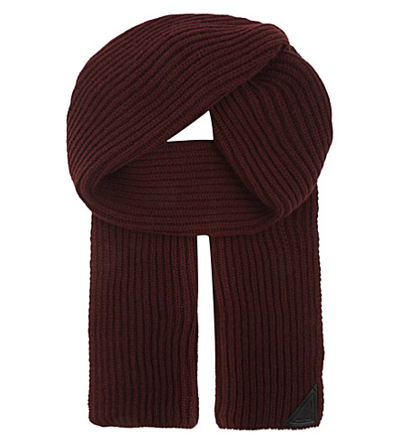 ASPINAL OF LONDON Ribbed merino wool and cashmere-blend scarf (Burgundy
