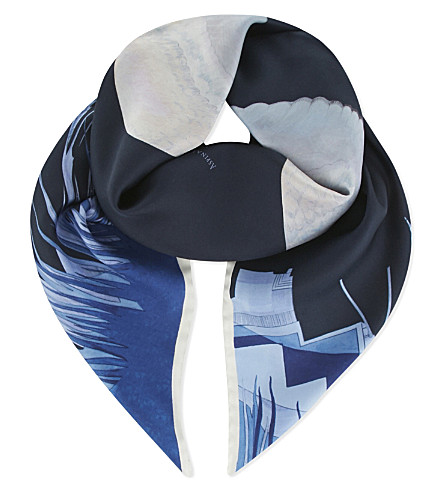 ASPINAL OF LONDON Owl in the city scarf (Navy