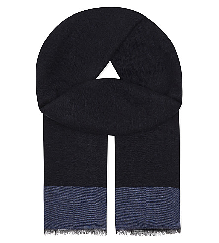ASPINAL OF LONDON Essential cashmere-blend scarf (Navy