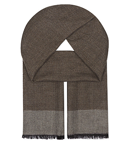 ASPINAL OF LONDON Essential cashmere-blend scarf (Brown
