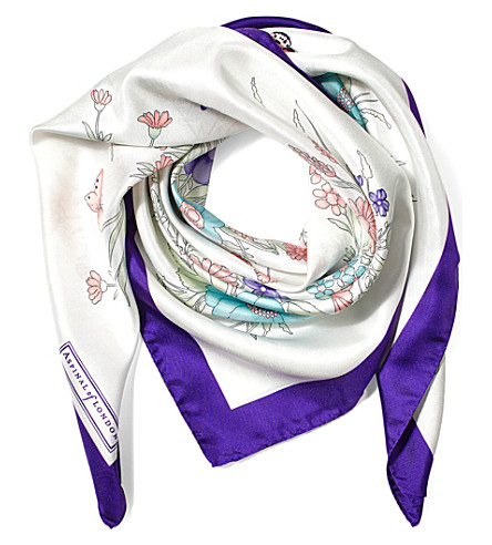 ASPINAL OF LONDON The Bouquet of Flowers silk scarf (Purple