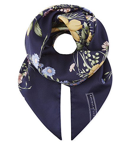 ASPINAL OF LONDON The Bouquet of Flowers silk scarf (Blue