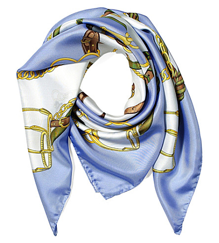 ASPINAL OF LONDON Horseshoe silk scarf (Misty+blue