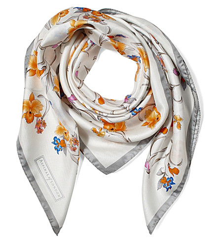 ASPINAL OF LONDON Mini flowers silk scarf (Grey