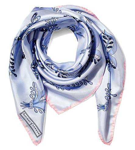 ASPINAL OF LONDON Summer field silk scarf (Blue