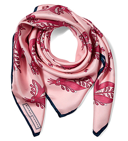 ASPINAL OF LONDON Summer field silk scarf (Blush