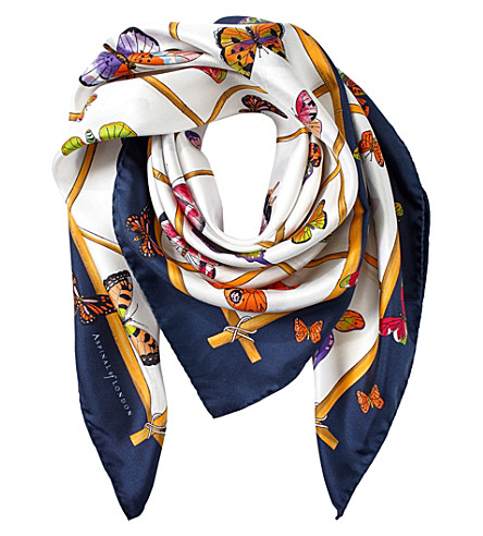 ASPINAL OF LONDON Multi-coloured butterflies silk scarf (Blue