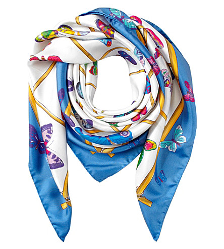 ASPINAL OF LONDON Multi-coloured butterflies silk scarf (Forget+me+not