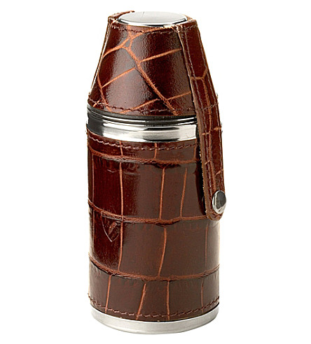 ASPINAL OF LONDON Hunter croc leather and suede flask set (Amazon+brown