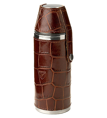 ASPINAL OF LONDON Hunter Amazon leather and suede flask set (Amazon+brown
