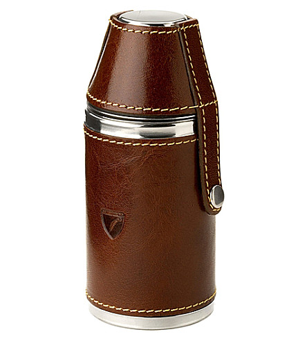 ASPINAL OF LONDON Hunter cognac leather flask set (Cognac