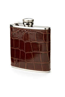 ASPINAL OF LONDON Classic mock-croc leather hip flask 5oz
