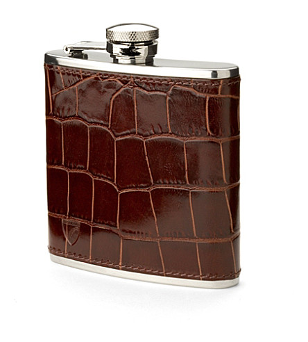 ASPINAL OF LONDON Classic mock croc leather hip flask (Amazon+brown