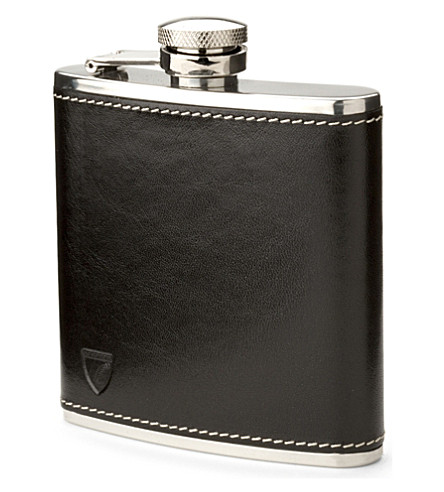 ASPINAL OF LONDON Classic smooth leather hip flask (Black