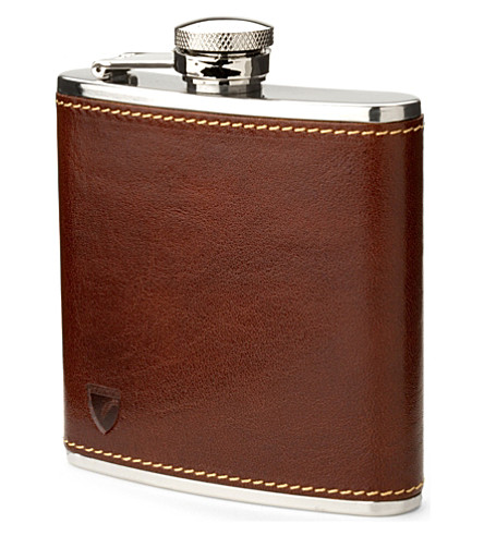 ASPINAL OF LONDON Classic smooth leather hip flask (Cognac