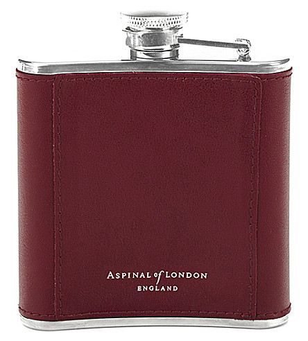ASPINAL OF LONDON Classic leather-bound hip flask 5oz (Burgundy