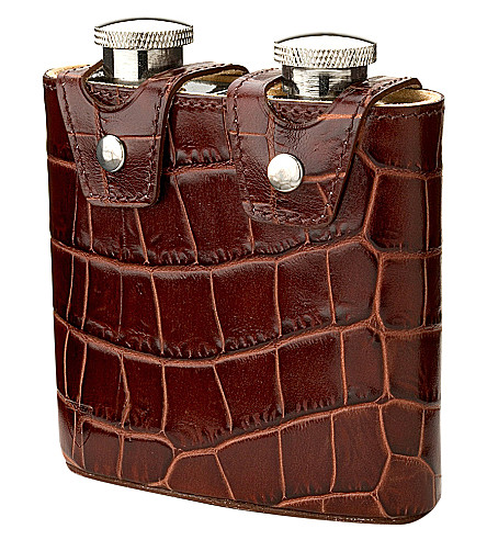 ASPINAL OF LONDON Double hip flask (Amazon+brown