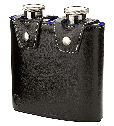 ASPINAL OF LONDON Double hip flask (Black