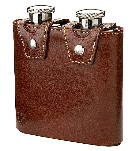 ASPINAL OF LONDON Double leather hip flask (Cognac