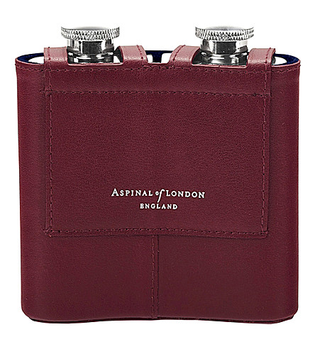 ASPINAL OF LONDON Double leather hip flask (Burgundy