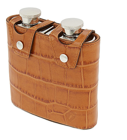 ASPINAL OF LONDON Double hip flask (Tan