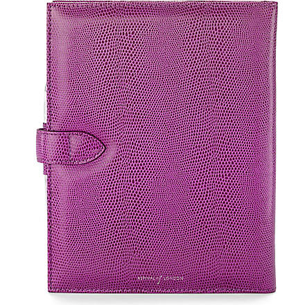 ASPINAL Lizard-print leather Padfolio