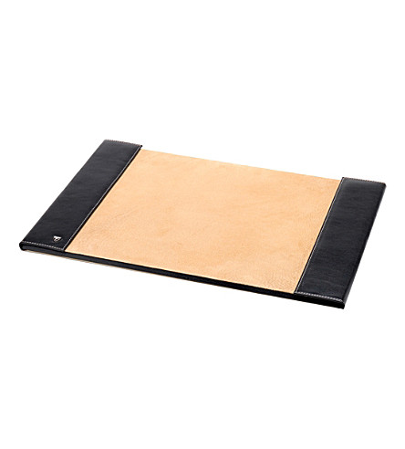 ASPINAL OF LONDON Leather desk blotter (Black