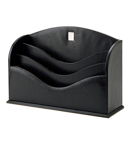 ASPINAL OF LONDON Leather stationery rack (Black