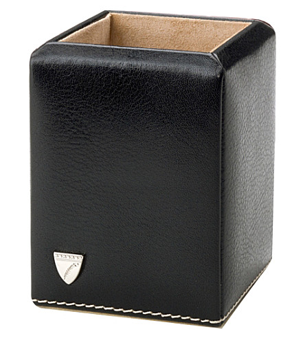 ASPINAL OF LONDON Leather pen pot (Black