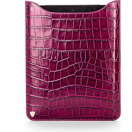 ASPINAL Leather iPad with Retina sleeve (Purple croc & cream