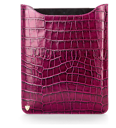 ASPINAL OF LONDON Leather iPad with Retina sleeve (Purple croc & cream