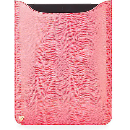 ASPINAL OF LONDON Leather iPad with Retina sleeve (Pink lizard & cream
