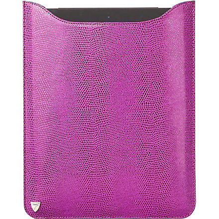 ASPINAL OF LONDON Leather iPad with Retina sleeve (Violet lizard&cream