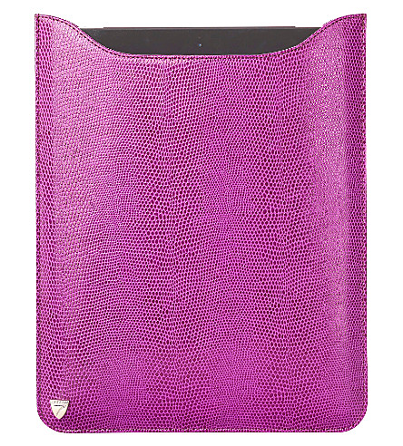 ASPINAL OF LONDON Ipad retina sleeve violet lizard & cream (Violet lizard&cream