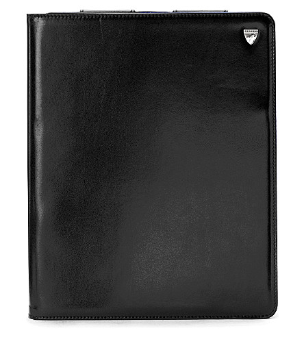 ASPINAL OF LONDON iPad 3 leather Stand-Up case (Smooth black&cobalt