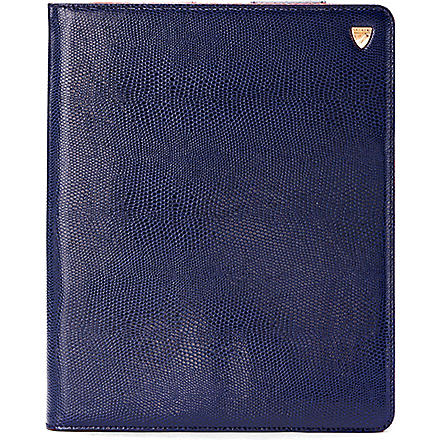 ASPINAL OF LONDON iPad 3 lizard-print leather Stand-Up case (Navy lizard & red