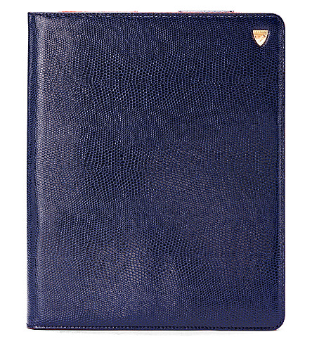 ASPINAL OF LONDON Ipad retina stand up case navy lizard & (Navy lizard & red