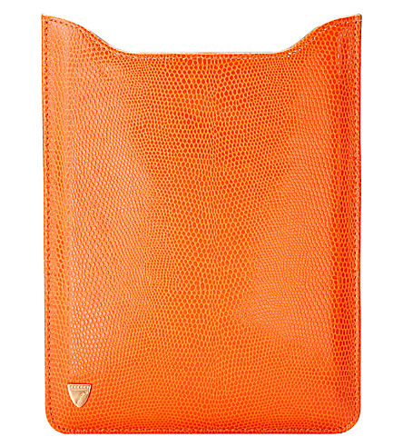ASPINAL OF LONDON Ipad mini sleeve orange lizard & cobalt (Orange