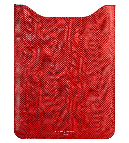 ASPINAL OF LONDON Ipad Mini lizard-embossed leather sleeve (Berry