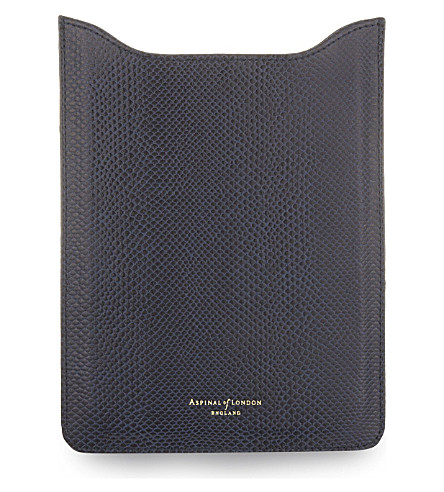 ASPINAL OF LONDON Textured leather iPad Mini sleeve (Navy