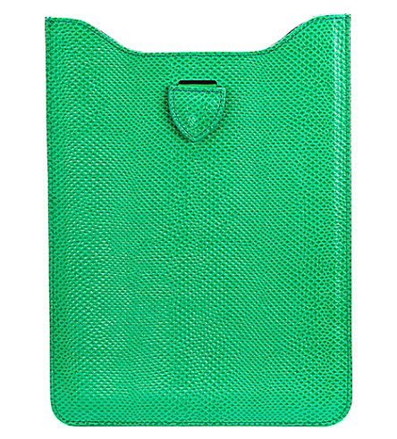 ASPINAL OF LONDON Reptile effect leather iPad mini sleeve (Green