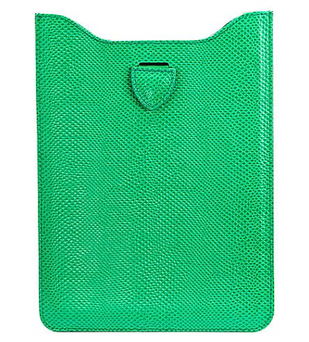 ASPINAL OF LONDON Reptile effect leather iPad mini sleeve (Green