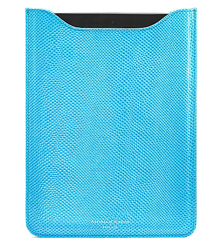 ASPINAL OF LONDON Reptile effect leather ipad mini sleeve (Blue