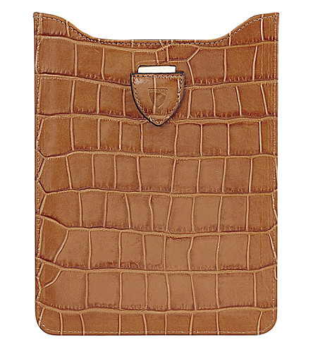ASPINAL OF LONDON Crocodile effect leather iPad mini sleeve (Tan