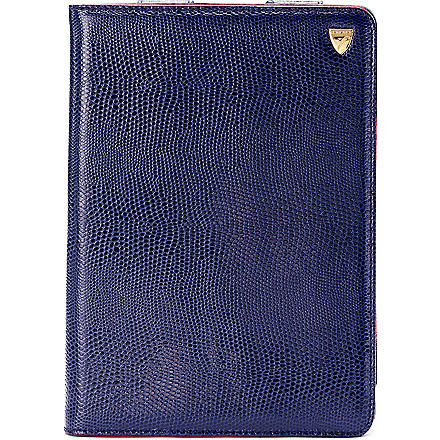 ASPINAL OF LONDON iPad Mini lizard-print leather Stand-Up case (Navy lizard & red
